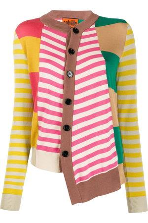 colville Asymmetric patchwork knit cardigan