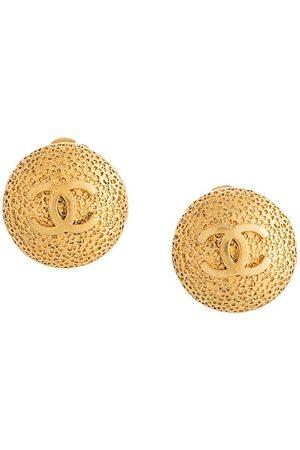 CHANEL 1996 CC logo button earrings