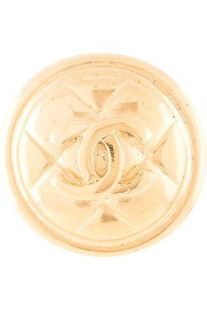 CHANEL CC logo medallion brooch