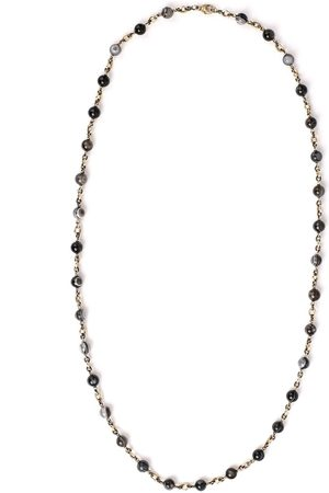 Sylva & Cie 18kt yellow striped agate bead necklace