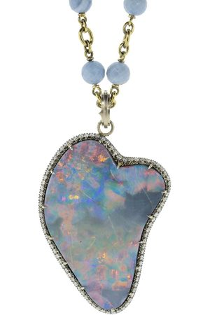 Sylva & Cie 18kt white diamond opal pendant