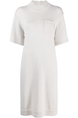 Brunello Cucinelli Short-sleeve knitted midi dress - Neutrals