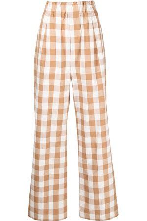 JEJIA High-rise check-print wide-leg trousers