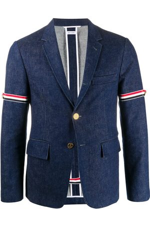 Thom Browne Unconstructed armband denim blazer - 415 Navy