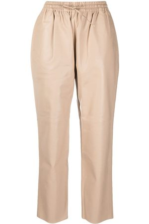 12 STOREEZ Tapered leather trousers - Neutrals