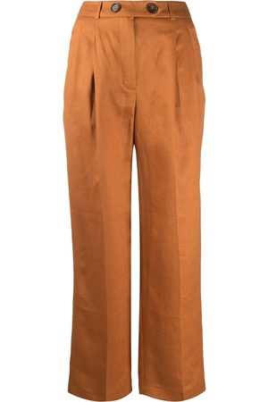 12 STOREEZ Pleated linen wide leg trousers