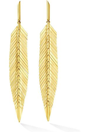 Cadar 18kt gold feather earrings
