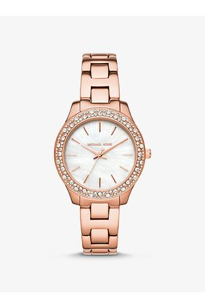 Michael Kors MK Liliane Pavé Rose- Tone Watch - Rose