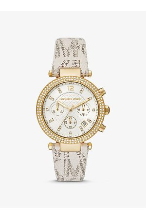 Michael Kors Watches - MK Oversized Parker Pavé Gold-Tone and Logo Watch - Vanilla