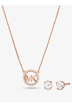 Michael Kors MK 14K Rose -Plated Sterling Silver Pavé Logo Charm Necklace and Stud Earrings Set - Rose