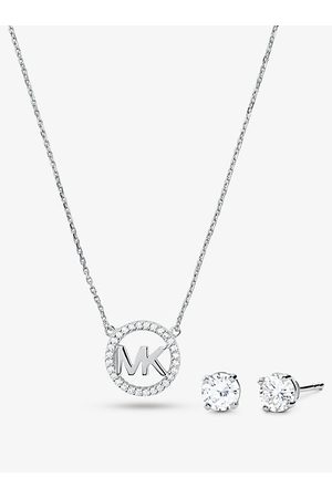 Michael Kors MK 14K Rose Gold-Plated Sterling Pavé Logo Charm Necklace and Stud Earrings Set