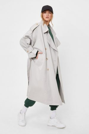 NASTY GAL Womens We're On the Case Belted Oversized Trench Coat - - 4