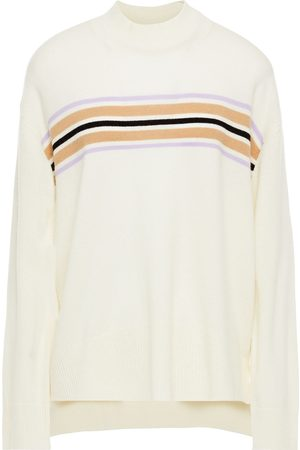 Chinti & Parker Woman Striped Wool And Cashmere-blend Sweater Cream Size L