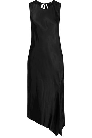 ANN DEMEULEMEESTER Woman Asymmetric Tie-back Satin Dress Size 34
