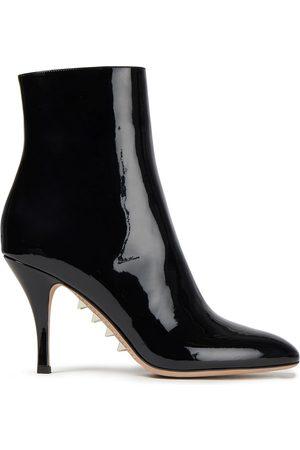 VALENTINO GARAVANI Woman Rockstud Patent-leather Ankle Boots Size 36