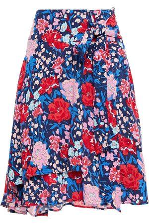 Claudie Pierlot Woman Asymmetric Knotted Floral-print Crepe Skirt Navy Size 34