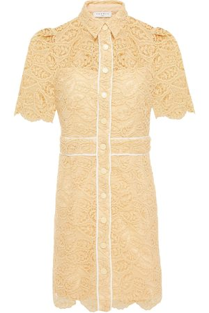 Sandro Woman Grosgrain-trimmed Corded Lace Mini Shirt Dress Cream Size 34