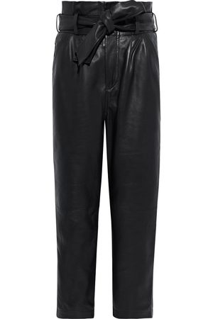 Walter Baker Woman Maggie Cropped Belted Leather Tapered Pants Size 0