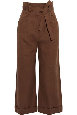 Brunello Cucinelli Woman Cropped Belted Cotton And Linen-blend Wide-leg Pants Size 36