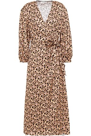 Chinti & Parker Woman Gabriel Floral-print Satin-crepe Midi Wrap Dress Sand Size 10