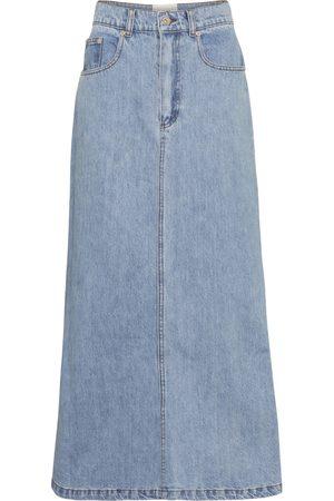 Nanushka Claudia high-rise denim midi skirt