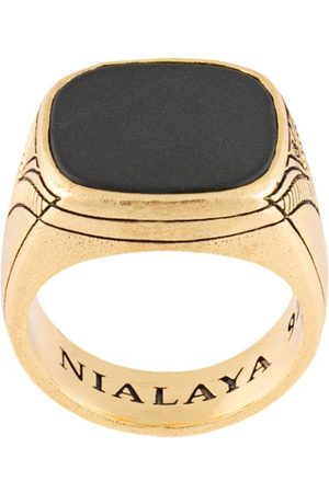 Nialaya Jewelry Matte onyx cocktail ring