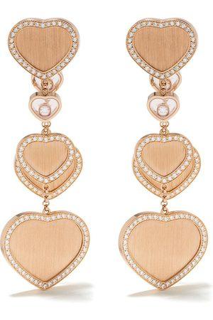 Chopard X 007 18kt rose Happy Hearts - Golden Hearts diamond drop earrings