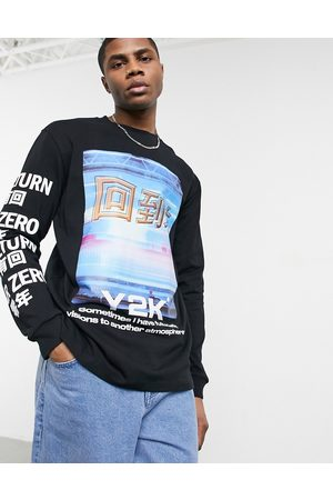 Bershka Long sleeve t-shirt with chest print in