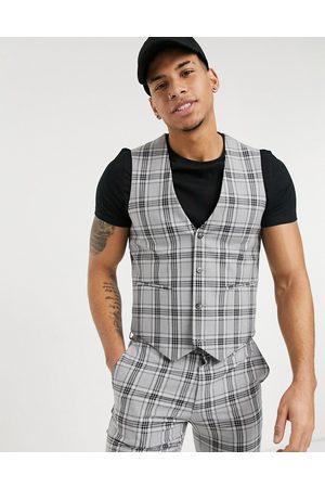 ASOS Super skinny suit waistcoat in tartan check
