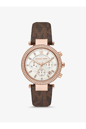 Michael Kors MK Oversized Parker Pavé Rose Gold-Tone and Logo Watch