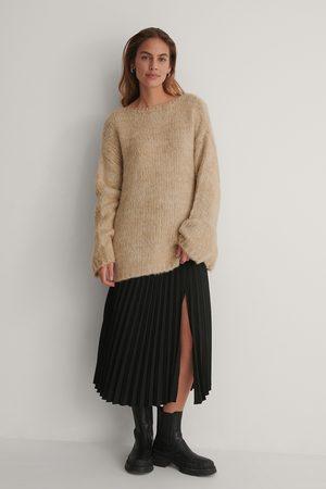 NA-KD Women Pleated Skirts - Side Slit Pleated Skirt - Black
