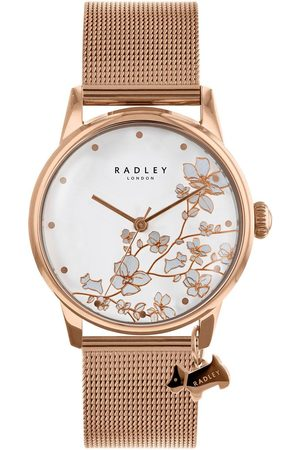 Radley Floral Dial Rose Dog Charm Rose Tone Stainless Steel Watch