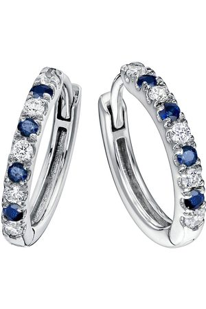 Created Brilliance Julia 9Ct White Created Sapphire And 0.18Ct Lab Grown Diamond Hoop Earrings