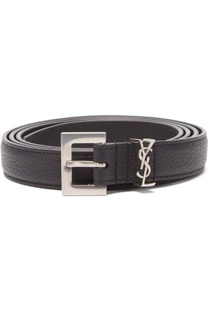 Saint Laurent Ysl-plaque Grained-leather Belt - Mens