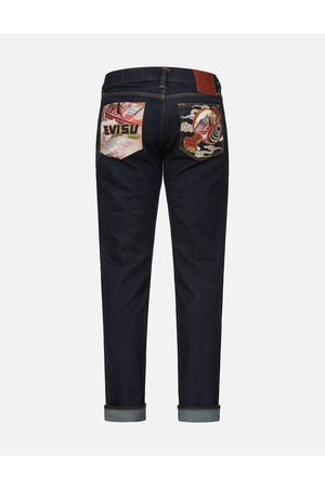 Evisu Appliqué Pocket and Raijin Hammer Embroidered Slim Fit Jeans #2010