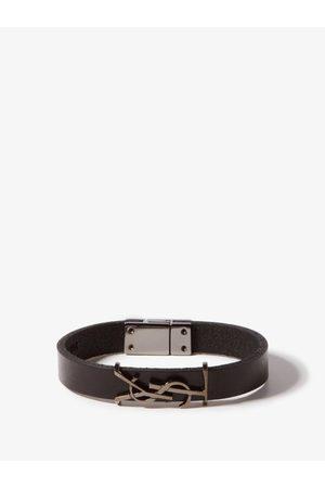 Saint Laurent Ysl Logo-plaque Leather Bracelet - Mens