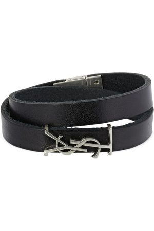 Saint Laurent Double Wrap Ysl Leather Bracelet