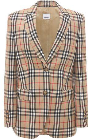 Burberry Sidon Wool Check Blazer Jacket