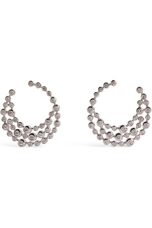 Shay White and Diamond Boho Swirl Earrings