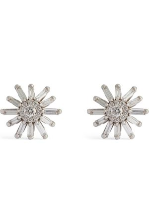 Suzanne Kalan Gold and Diamond Fireworks Flower Earrings