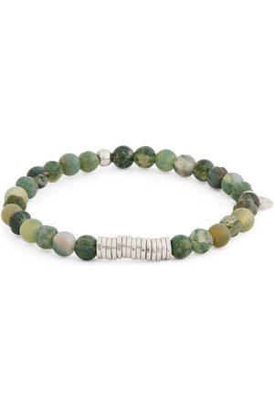 Tateossian Moss Agate Beaded Bracelet