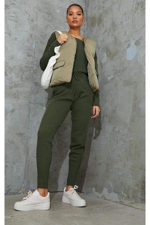 PRETTYLITTLETHING Women Loungewear - Khaki Knitted Lounge Set