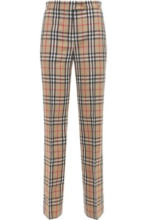 Burberry Fleur Check Wool Pants