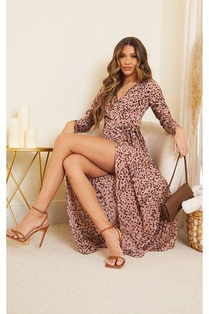 PRETTYLITTLETHING Dusty Dalmatian Long Sleeve Wrap Maxi Dress