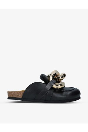 Jw Anderson Chain-embellished leather loafers