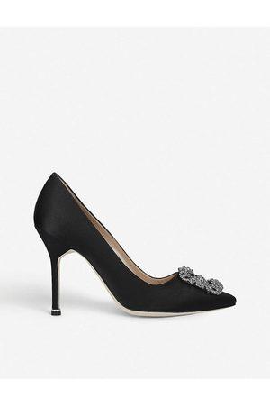 Manolo Blahnik Ladies Leather Buckled Hangisi 105 Satin Courts