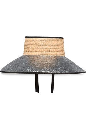 Miu Miu Glittered straw visor