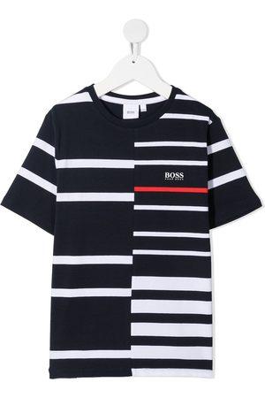 HUGO BOSS Panelled stripe logo print T-shirt