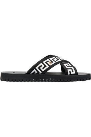 VERSACE Greca-motif crossover-strap sandals