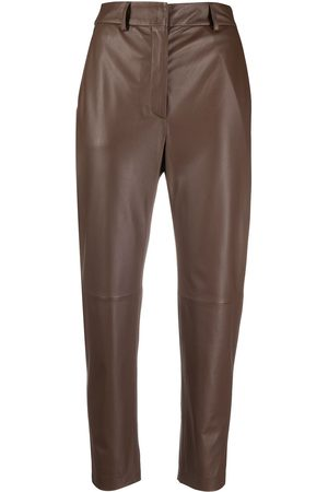 PESERICO SIGN Cropped leather trousers